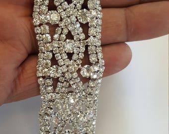 1 yard Rhinestone trim/ Rhinestone Chain/ Formal gown belt/ rhinestone  Swarovski shine silver,