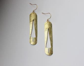 TREE brass long earrings