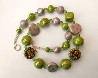 African Kazuri ceramic necklace, green and grey pearlised hand made beads.