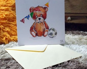 Birthday bear watercolor card print