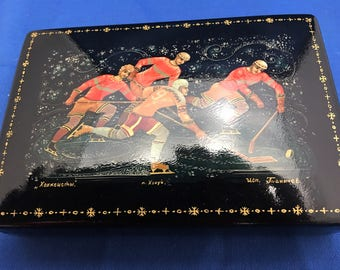 Vintage Russian Lacquer Box-Hand-Painted with hockey theme