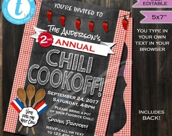 Chili Cook Off Invitation Chili Competition Chili Cookoff Party- Chili Pepper Vote Fall Party- Chalkboard Printable INSTANT SelfEDITABLE 5x7