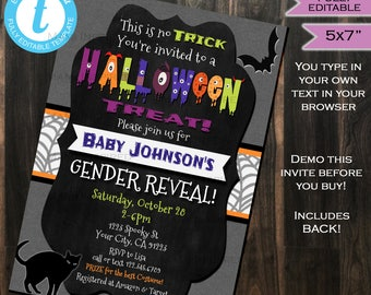 Halloween Gender Reveal Invitation Baby Shower Invite - He or She Little Monster - Chalkboard Template Printable INSTANT Self EDITABLE 5x7