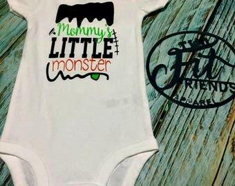 Mommy's Little Monster Halloween Bodysuit One Piece Baby Romper Creeper Newborn Girls Baby Shower Gift
