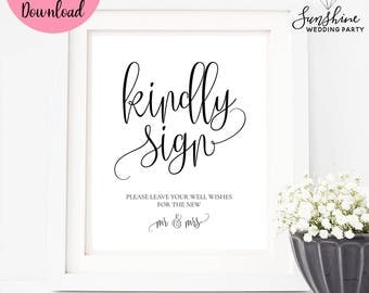 Kindly Sign, Wedding Guestbook Sign, Printable Sign, Wedding Sign, Wedding Cards Sign, Wedding Decor, Table Sign For Cards, Digital Sign