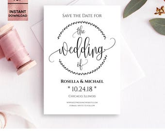 Save the Date Card Template, Printable 5x7 Save the Date with Script Font, DIY Template, Ready to Print, Editable PDF File, Digital Download