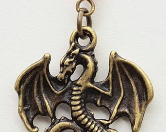 Flying Bronze Dragon with Red Crystal Pendant
