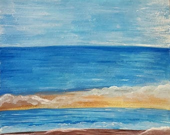 Watercolor/ Acrylic Painting: Beach Scene
