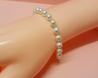 White Pearl Bracelet, Sterling Silver, Pearl Jewelry, Classic Bracelet, Pearl Jewellery, White Pearls, Silver Bead, Swarovski Pearl Bracelet