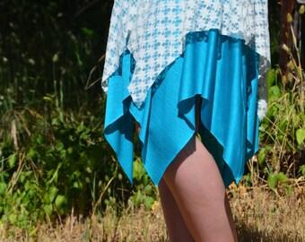 Handkerchief-Style Skirt / Women's Skirt / Dance Skirt / Dance Wear / Turquoise Star Skirt