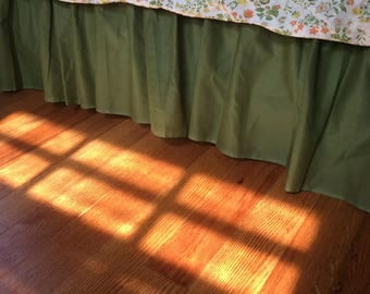 Vintage Green Chartreuse Bed Skirt for a QUEEN - retro bed skirt