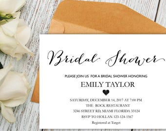Bridal Shower Invitation, Printable Bridal Shower, Bridal Shower Card, Instant Digital Download File, Flower Bride DIY, Bridal Cards White 6