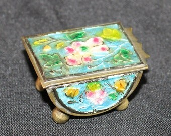 Vintage Chinese Enamel Cloisonne Brass Footed Hinged Stamp Box, Pill, Snuff Box