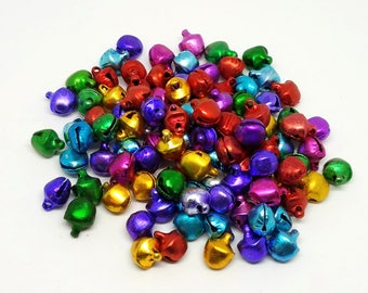 10 mm Bells, Small Bells That Jingle, Mini Bells, Multi-Color Bells, Tiny Bells, Bell Beads, Bells for Christmas, Bells for the Holidays