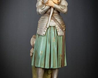 "St Joan of Arc Statue | Saint Jeanne d'Arc Figure | The Maid of Orleans Figurine | Polychromed Plaster | RARE Vintage Martyr | 17"" Large"