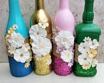 Easter housewarming etsy spring wine bottles flower decor easter wine bottle decor floral centerpiece negle Images