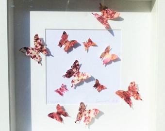 Butterflies painting, handmade paper, butterfly art, handmade butterfly, wall butterflies, butterfly 3 D, wall decor, acrilic colors,