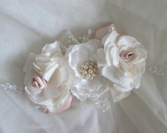 BRIDAL FABRIC CORSAGE in shades of Ivory and Champagne. Made in Silk and Satin fabrics with Crystals and Pearls