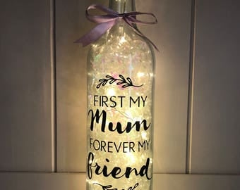 First My Mum Forever My Friend, LED Light Up Bottle, Mothers Day Gift, Gifts for Mum, Auntie Gift, Nanny Gift, Birthday Gifts, Granny Gift