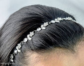 Rhinestone Crystal Beaded Wedding Headband Wrap Boho Hair accessory  silver
