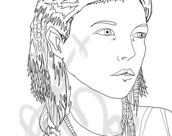 Fashion illustration, portrait, original line art, adult coloring book sheets, printable coloring pages digital download