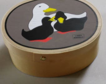 Linda Morgan Duck Trinket Box Black White Ducklings Keepsake