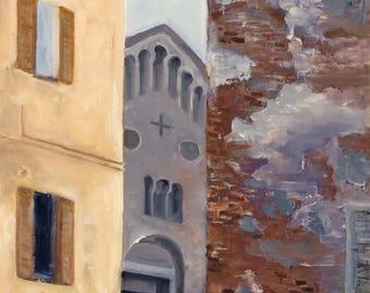 SAN TEODORO  -  original fine art oil painting, framed, Italian, Pavia,church, Charlemagne, history,