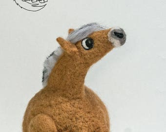Roly Poly Norwegian Fjord  - Needle Felted decorative sculpture.