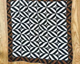 Vintage Vera Neumann black, brown and cream geometric scarf