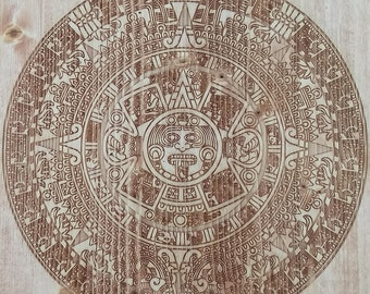 Engraved Aztec Calendar Accent Table