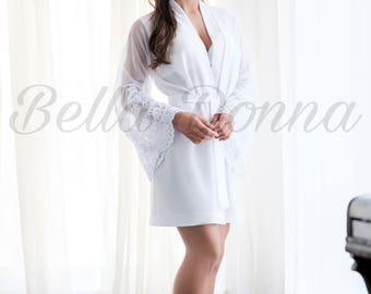 White robe, lace robe, Bridal Lingerie, crepe robe, Nightdress, wedding robe, Wedding Lingerie, bridal robe, womens robe, handmade,