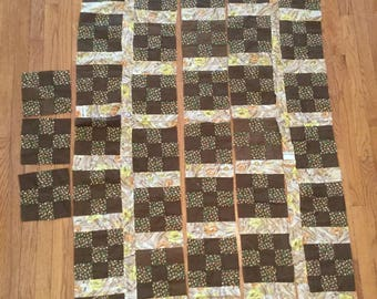 43 Quilters Blocks Handmade Vintage Cut Quilting Squares Brown Cotton Calico Patchwork Blocks 1970s Incomplete Quilt Top