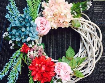 Spring Wreath - Summer Wreath - Floral Wreath - Colorful Floral Wreath - Everyday Wreath