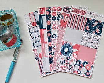 Navy Floral - Erin Condren Vertical Weekly Kit