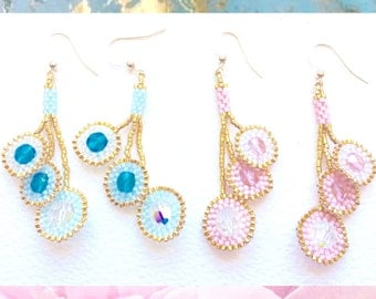 Gold Plated 24 Karat Earrings with Miyuki Delica and Swarosky ,Sky Blue or Powdered Pink