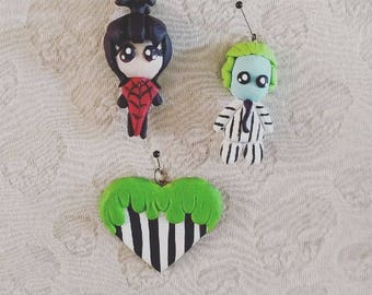 Beetlejuice inspired Pendant Charms Polymer Clay Handmade Sandworm Lydia Deetz