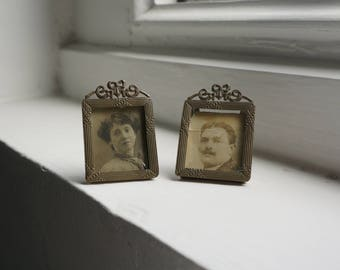 Antique Pair of Portrait Photos in Matching Frames, Edwardian Couple
