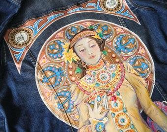 Alfons Mucha art nouveau painting on denim jacket. ( read the description !)