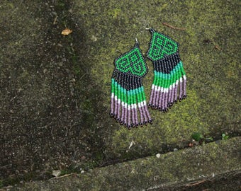 Huichol inspired beaded danglers