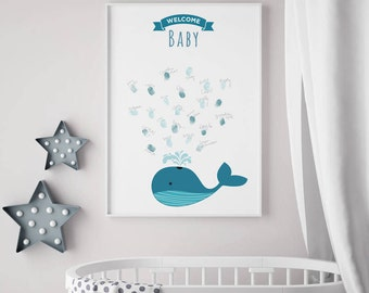 Baby Shower - Guest Sign In/Finger Print- Whale themed