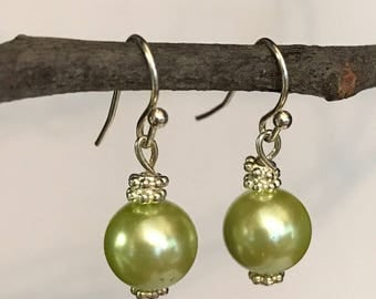 Mint Green Glass Pearl Earrings~Silver Daisy Spacers~Silver Plate Ear Wires. ER108