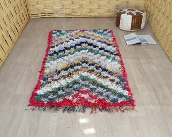 "Boucherouite Rugs : Moroccan Rugs, Azilal Rag Rugs, Boy Nursery Rug, Vintage Berber Rug, Dining Room Rug, Bedside Morrocan Decor 5'1"" x 2'9"""