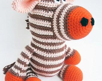 Striped Crochet Zebra Toy, Orange Crochet Zebra, Stuffed Zebra Toy, Zebra Plushie, Crochet Stuffed Animals, Amigurumi Zebra Soft Toy