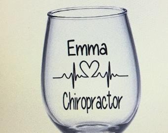 Chiropractor wine glass. Chiropractor gift. Chiropractor student. Chiropractor gifts.