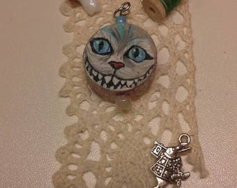 Light blue Handpainted cheshire cat wooden pendant/One Inch/Mad Hatter Pendant/Alice in Wonderland Handpainted Pendant/Cheshire Cat Jewelry