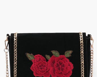 Rose Embroidery Across Body Bag - Gold Chain Suedette Cross Body Bag