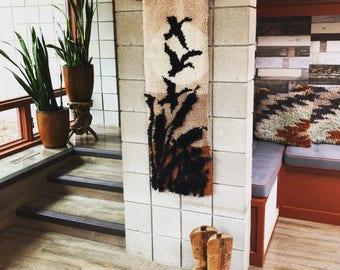 Shag Rug Wall Hanging // Midcentury Wall Decor // Vintage Boho Decor