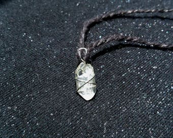 Clear Quartz Crystal Choker Necklace Wire Wrapped on Black Hemp Cord