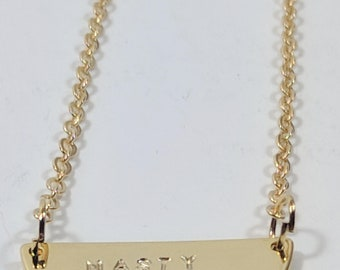 Gold Filled Half Moon Stamped Necklace