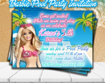 BARBIE POOL party INVITATION,Barbie party invite,Personalized Birthday Pool party invitations,Barbie Party supplies,Birthday Summer party
